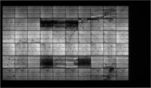 Multiple breakages on cells highlighted by the electroluminescence test (real radiograph of the modules)